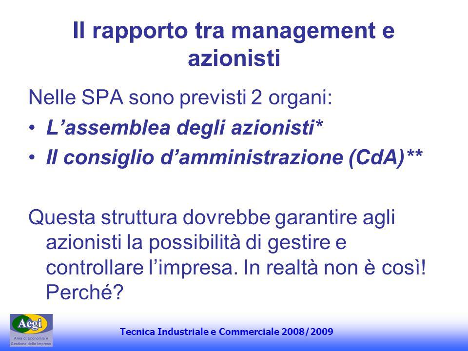 Tecnica Industriale e Commerciale 2008/2009 Il rapporto tra management e azionisti Nelle SPA sono previsti 2 organi: Lassemblea degli azionisti* Il co