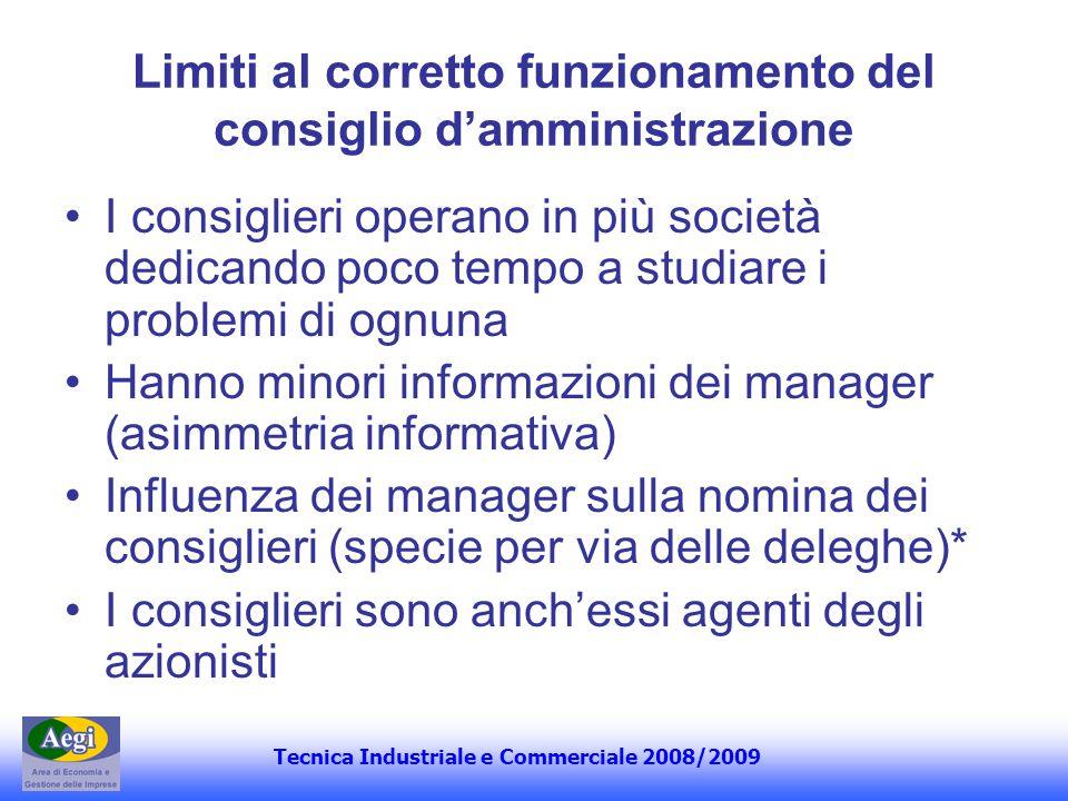 Tecnica Industriale e Commerciale 2008/2009 Limiti al corretto funzionamento del consiglio damministrazione I consiglieri operano in più società dedic