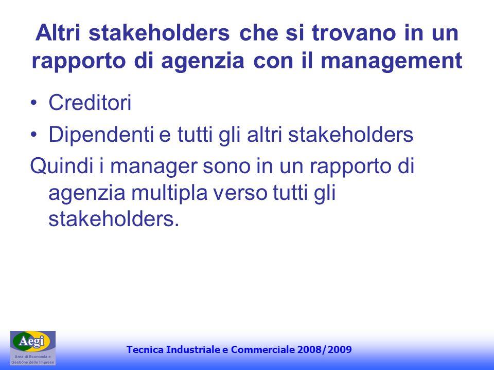 Tecnica Industriale e Commerciale 2008/2009 Altri stakeholders che si trovano in un rapporto di agenzia con il management Creditori Dipendenti e tutti