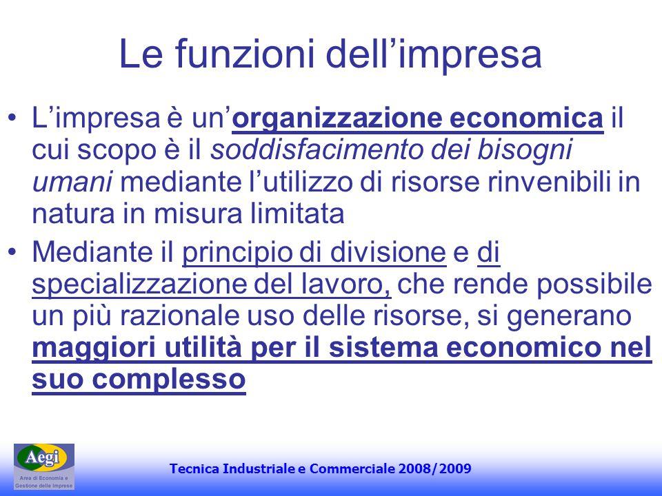 Tecnica Industriale e Commerciale 2008/2009 Le funzioni dellimpresa Limpresa è unorganizzazione economica il cui scopo è il soddisfacimento dei bisogn