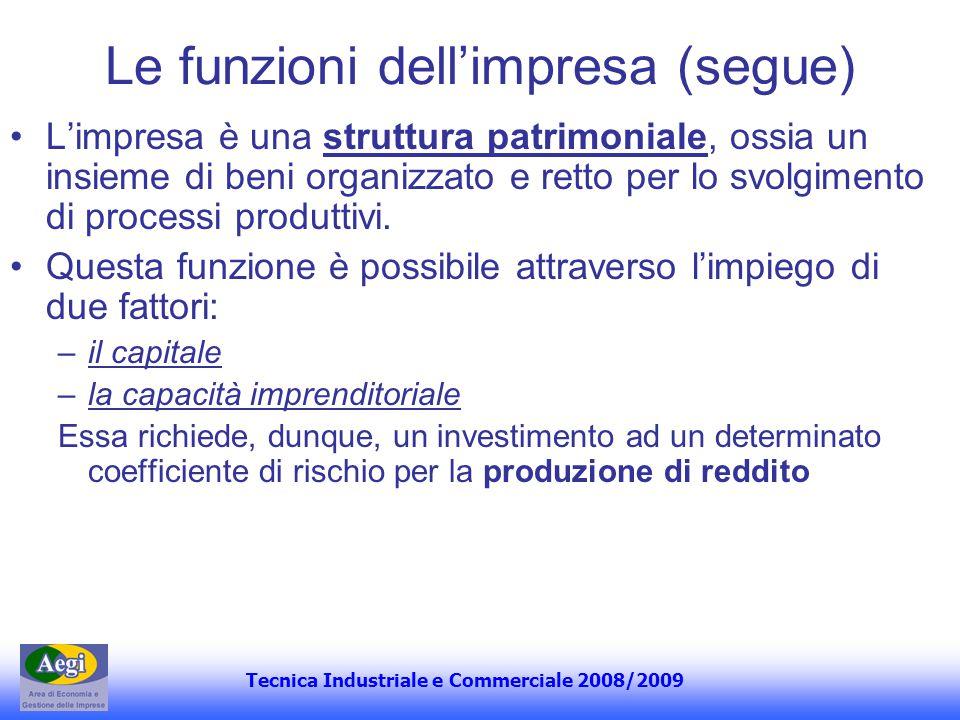 Tecnica Industriale e Commerciale 2008/2009 Le funzioni dellimpresa (segue) Limpresa è una struttura patrimoniale, ossia un insieme di beni organizzat