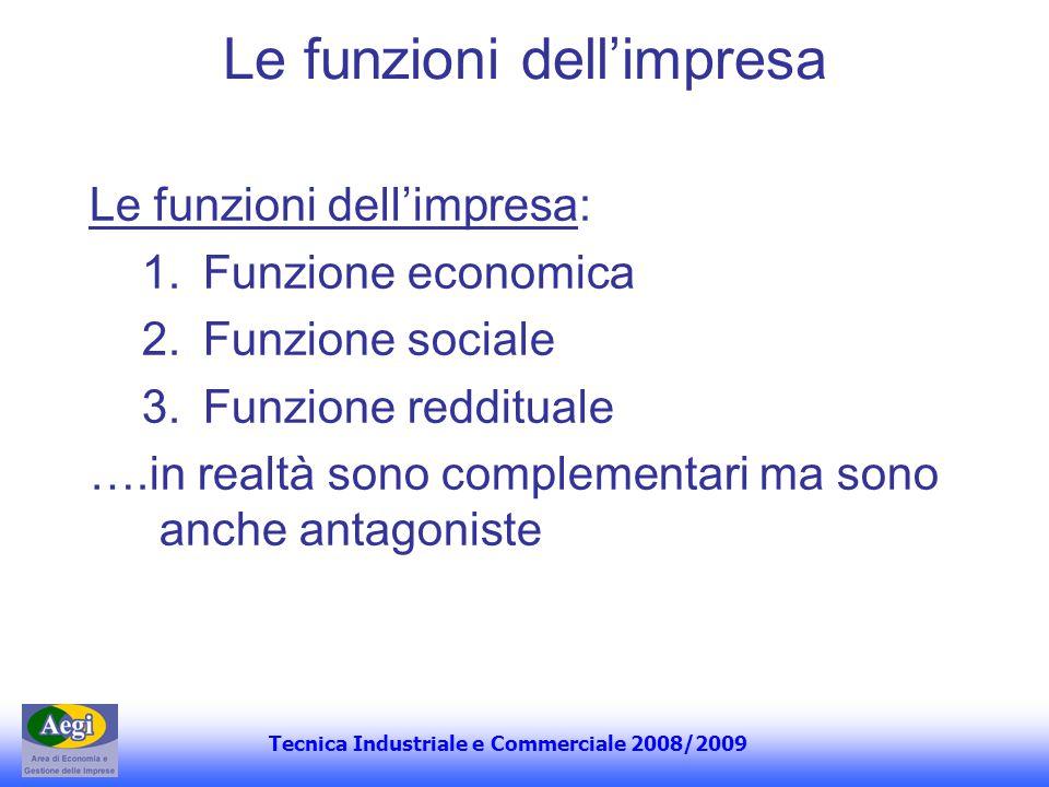 Tecnica Industriale e Commerciale 2008/2009 Le funzioni dellimpresa Le funzioni dellimpresa: 1.Funzione economica 2.Funzione sociale 3.Funzione reddit