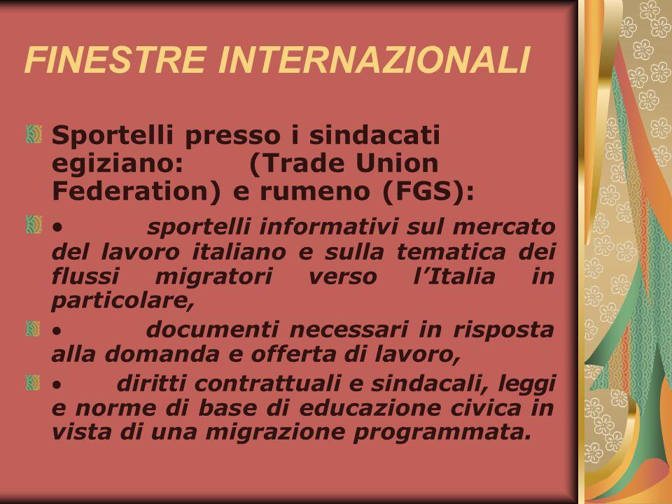 FINESTRE INTERNAZIONALI Sportelli presso i sindacati egiziano: (Trade Union Federation) e rumeno (FGS): sportelli informativi sul mercato del lavoro i