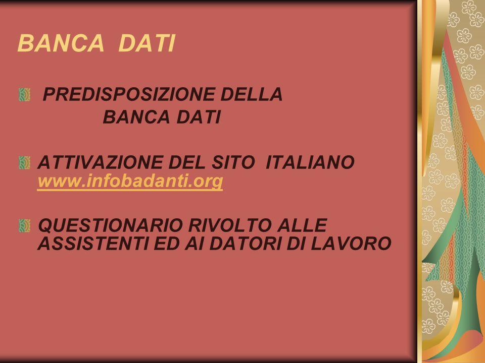 BANCA DATI PREDISPOSIZIONE DELLA BANCA DATI ATTIVAZIONE DEL SITO ITALIANO www.infobadanti.org www.infobadanti.org QUESTIONARIO RIVOLTO ALLE ASSISTENTI ED AI DATORI DI LAVORO
