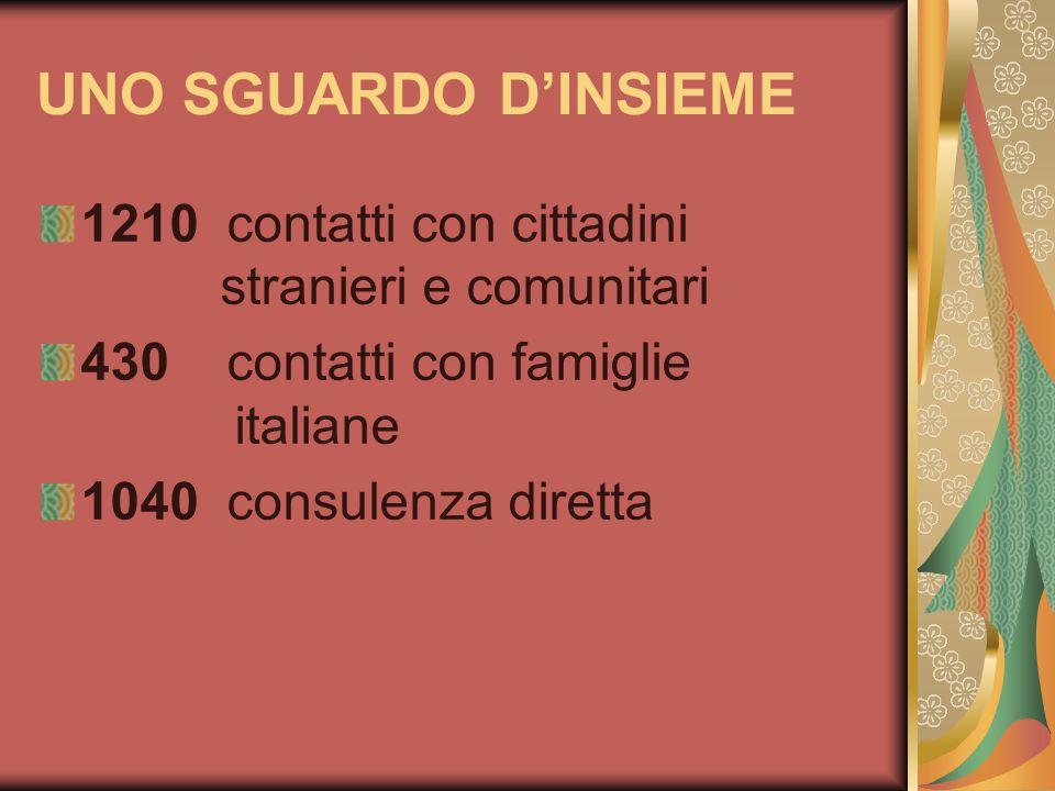 UNO SGUARDO DINSIEME 1210 contatti con cittadini stranieri e comunitari 430 contatti con famiglie italiane 1040 consulenza diretta