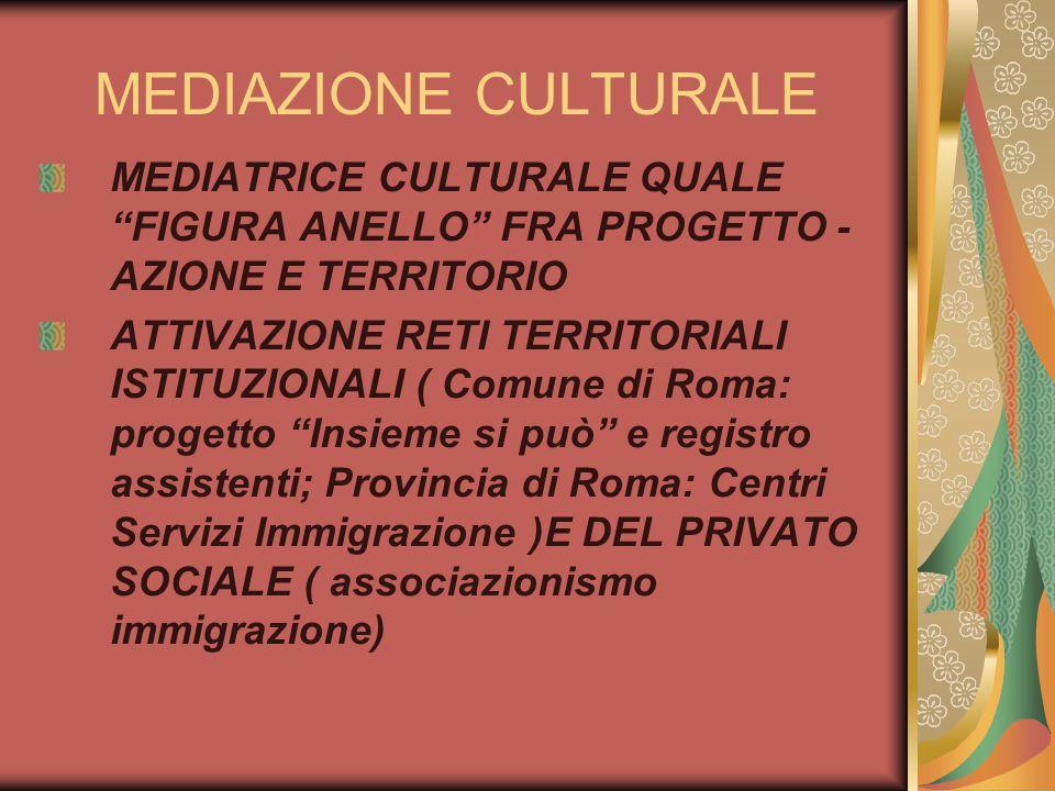 MEDIAZIONE CULTURALE MEDIATRICE CULTURALE QUALE FIGURA ANELLO FRA PROGETTO - AZIONE E TERRITORIO ATTIVAZIONE RETI TERRITORIALI ISTITUZIONALI ( Comune di Roma: progetto Insieme si può e registro assistenti; Provincia di Roma: Centri Servizi Immigrazione )E DEL PRIVATO SOCIALE ( associazionismo immigrazione)