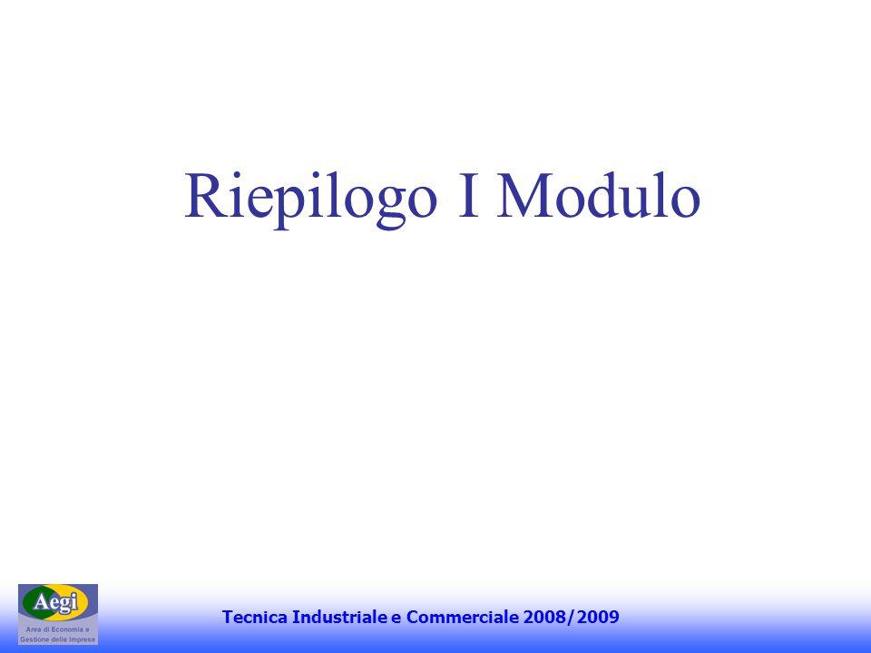 Riepilogo I Modulo Tecnica Industriale e Commerciale 2008/2009