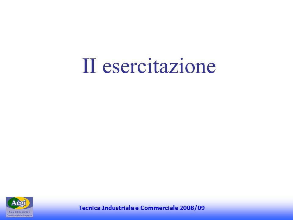 II esercitazione Tecnica Industriale e Commerciale 2008/09