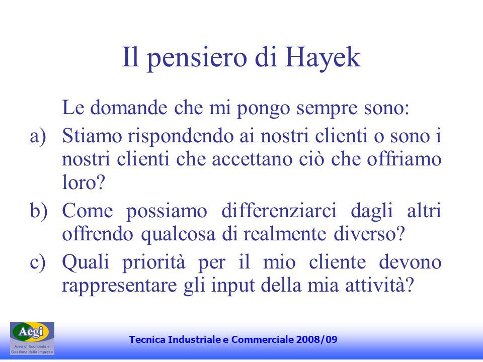 Il pensiero di Hayek Le domande che mi pongo sempre sono: a)Stiamo rispondendo ai nostri clienti o sono i nostri clienti che accettano ciò che offriamo loro.