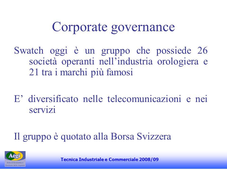Corporate governance Swatch oggi è un gruppo che possiede 26 società operanti nellindustria orologiera e 21 tra i marchi più famosi E diversificato nelle telecomunicazioni e nei servizi Il gruppo è quotato alla Borsa Svizzera Tecnica Industriale e Commerciale 2008/09