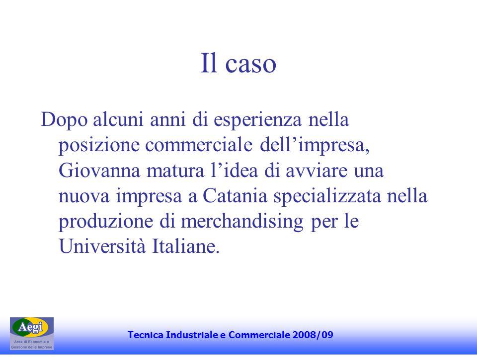 Il caso Dopo alcuni anni di esperienza nella posizione commerciale dellimpresa, Giovanna matura lidea di avviare una nuova impresa a Catania specializzata nella produzione di merchandising per le Università Italiane.