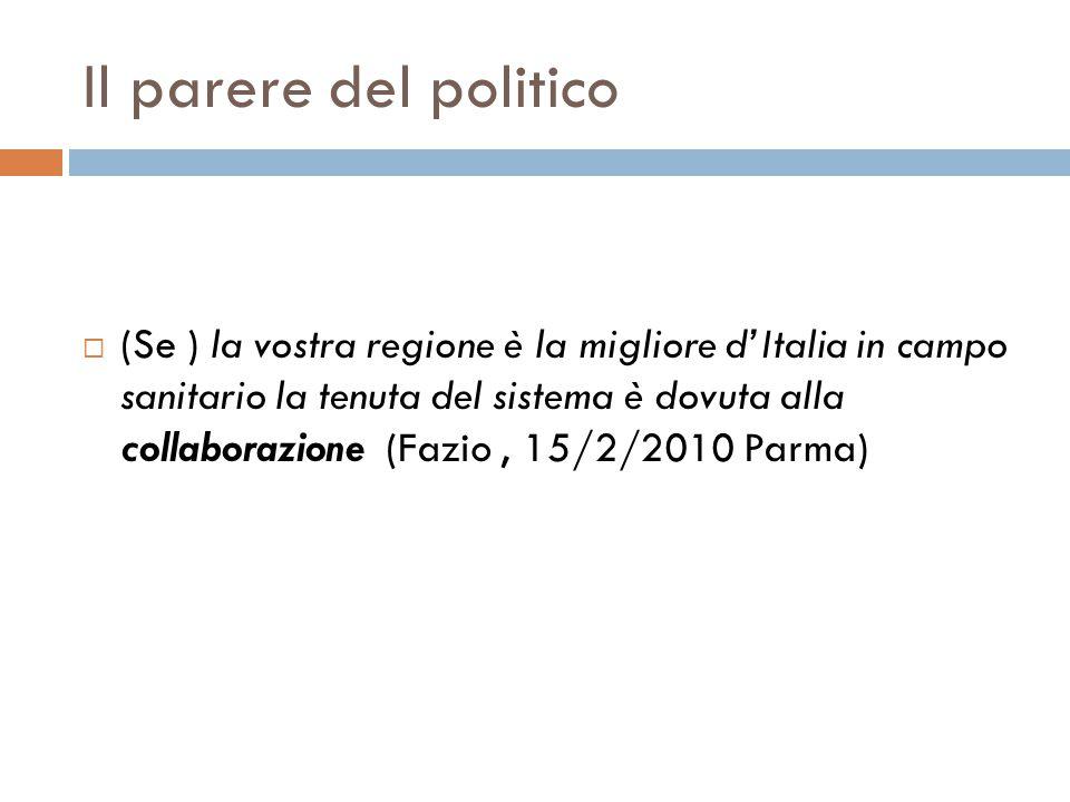 Il parere del politico (Se ) la vostra regione è la migliore dItalia in campo sanitario la tenuta del sistema è dovuta alla collaborazione (Fazio, 15/2/2010 Parma)