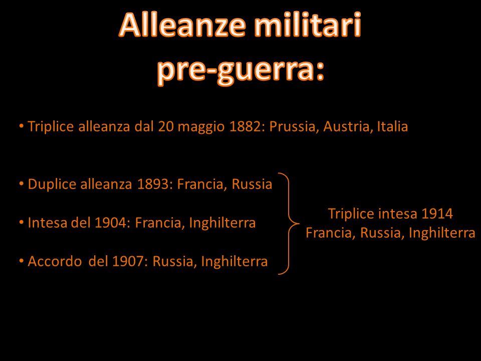 Triplice alleanza dal 20 maggio 1882: Prussia, Austria, Italia Duplice alleanza 1893: Francia, Russia Intesa del 1904: Francia, Inghilterra Accordo del 1907: Russia, Inghilterra Triplice intesa 1914 Francia, Russia, Inghilterra