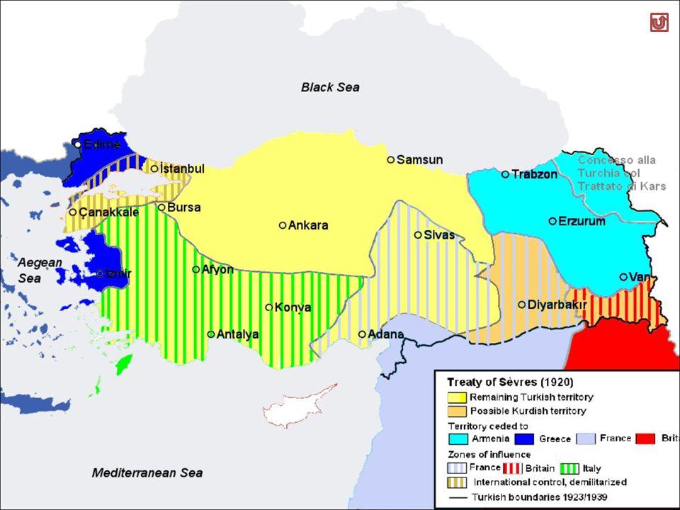 Smembramento dellImpero ottomano Anatolia, penisola di Gallipoli e Istanbul Turchia Tracia orientale, Adrianopoli, Smirne e isole egee Grecia Dodecanneso e Rodi Italia Siria e Libano Palestina, Transgiordania, Iraq, Arabia, Egitto e Cipro Francia Inghilterra Indipendenza Armenia