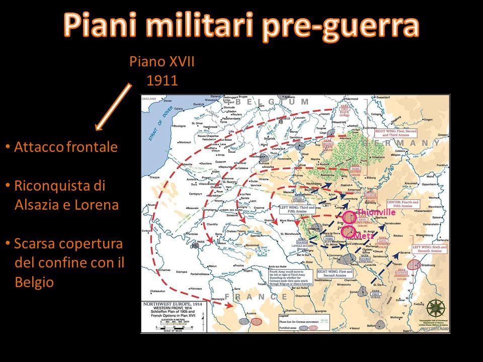 Piano Schlieffen 1905/1911 Accerchiamento esercito francese Sconfitta decisiva della Francia Rapido spostamento delle truppe sul fronte orientale Guerra alla Russia