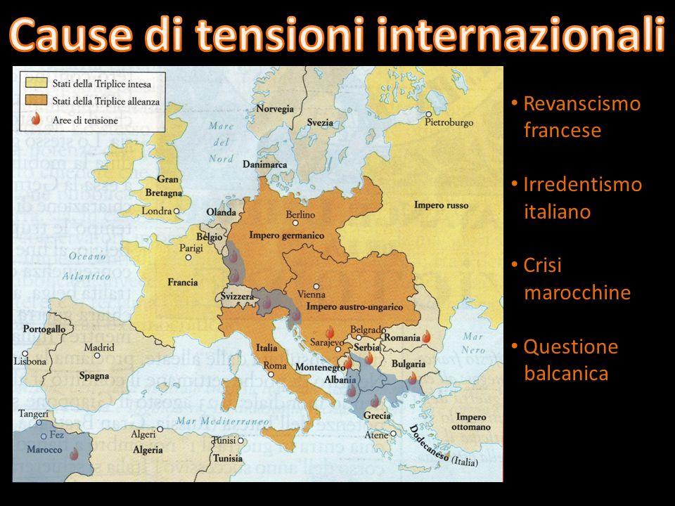 Revanscismo francese Irredentismo italiano Crisi marocchine Questione balcanica