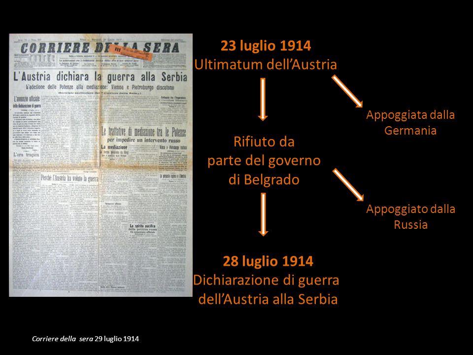 Appoggiata dalla Germania Appoggiato dalla Russia 23 luglio 1914 Ultimatum dellAustria Rifiuto da parte del governo di Belgrado 28 luglio 1914 Dichiarazione di guerra dellAustria alla Serbia Corriere della sera 29 luglio 1914