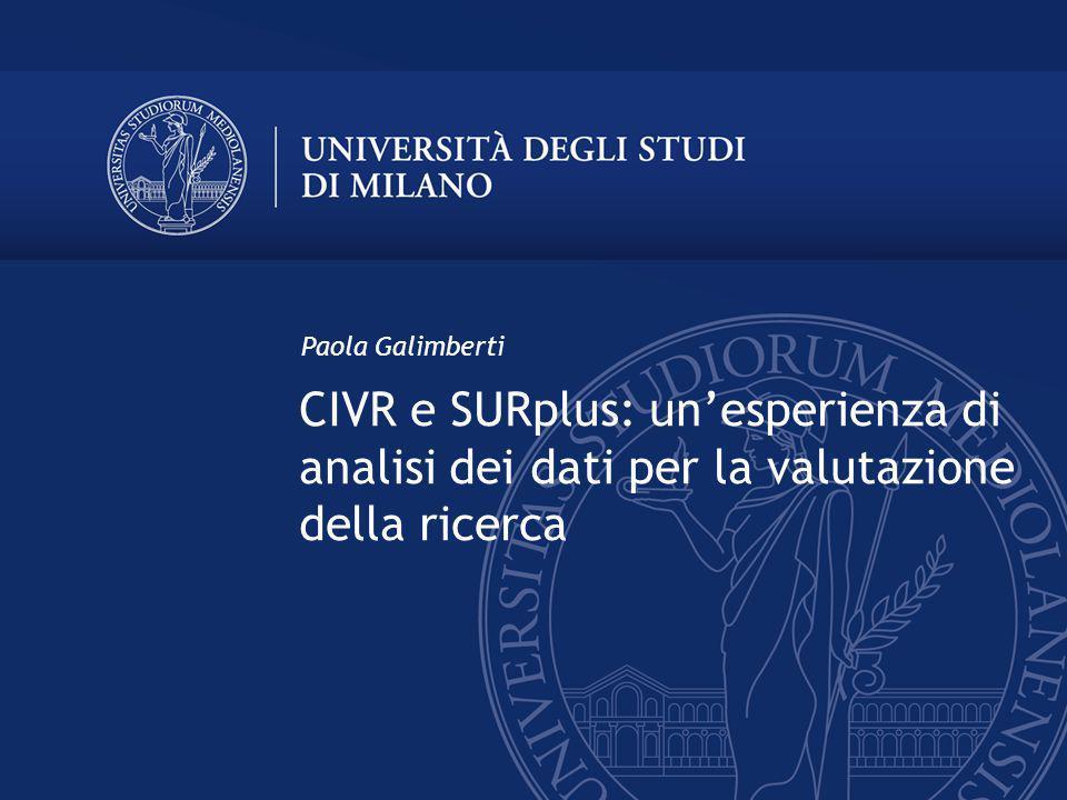 CIVR e SURplus: unesperienza di analisi dei dati per la valutazione della ricerca Paola Galimberti