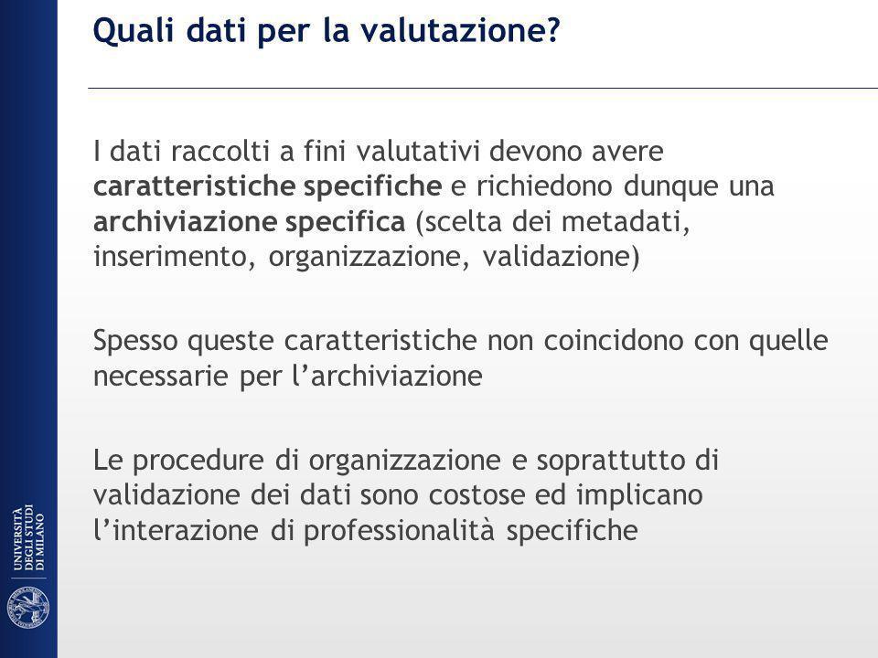 I dati sulla ricerca in Italia Manca in Italia una anagrafe della ricerca nazionale Il sito docente del MIUR contiene solo una parte molto parziale di quanto prodotto dai ricercatori italiani inoltre i dati sono sporchi perché non validati.