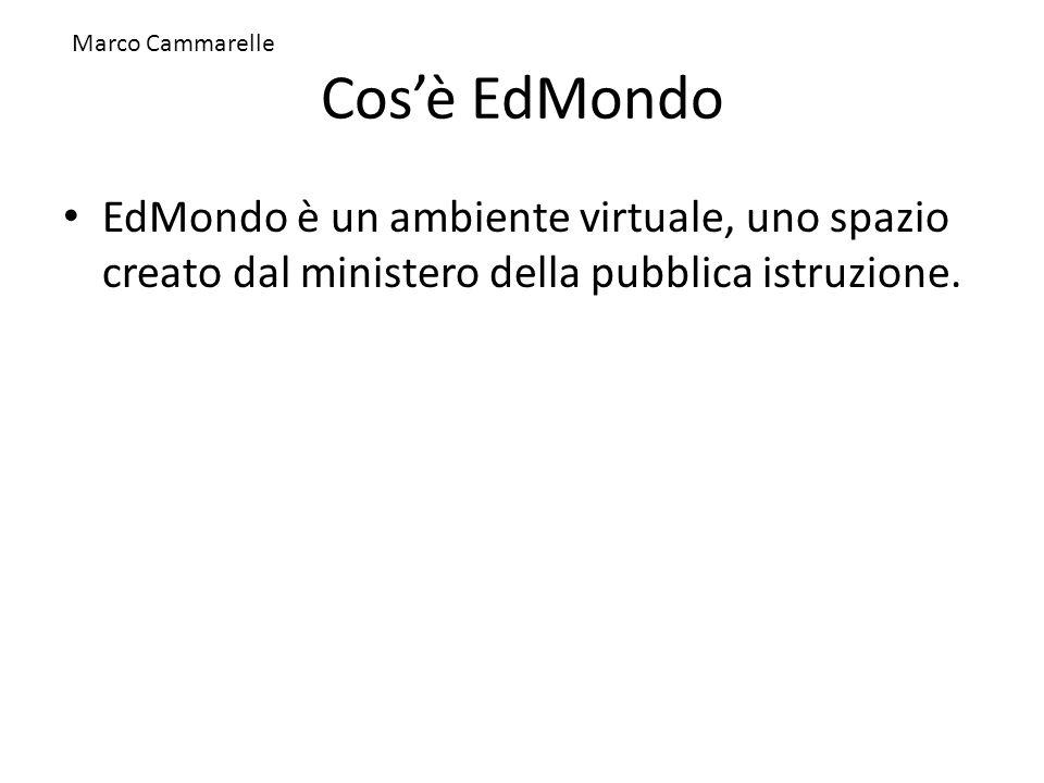 Cosè EdMondo EdMondo è un ambiente virtuale, uno spazio creato dal ministero della pubblica istruzione. Marco Cammarelle