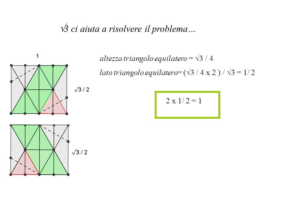 3 ci aiuta a risolvere il problema… altezza triangolo equilatero = 3 / 4 lato triangolo equilatero= ( 3 / 4 x 2 ) / 3 = 1/ 2 2 x 1/ 2 = 1