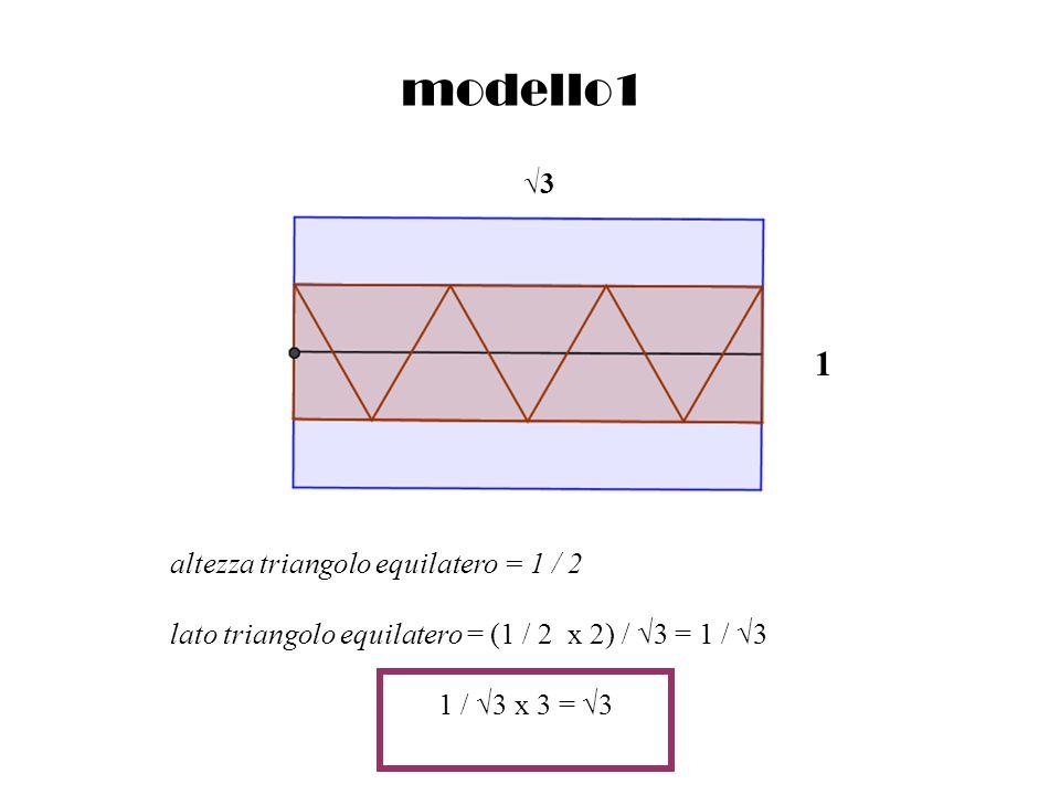 modello1 altezza triangolo equilatero = 1 / 2 lato triangolo equilatero = (1 / 2 x 2) / 3 = 1 / 3 1 / 3 x 3 = 3 1 3