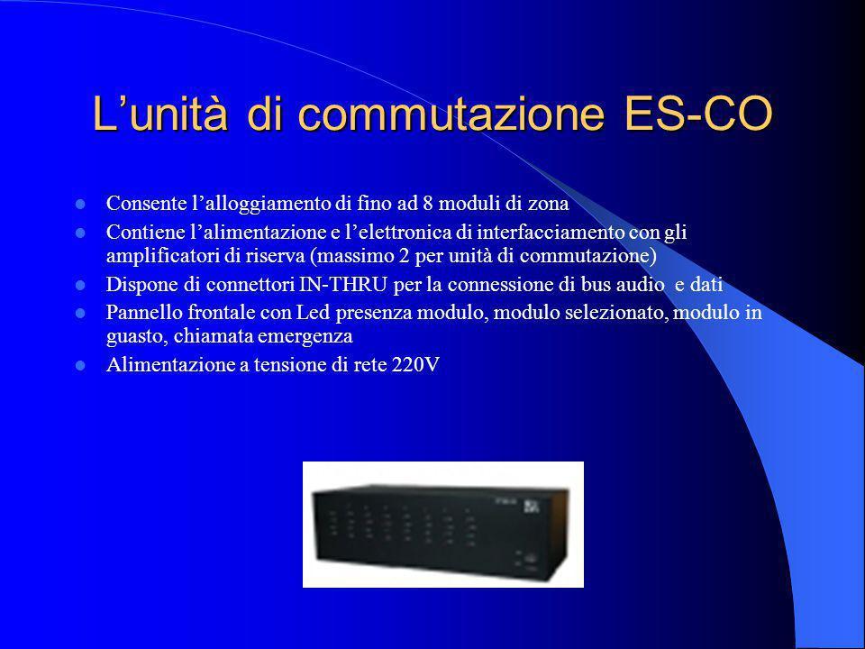 La centrale ES-CE Dispone di: 6 ingressi di allarme configurabili 2 ingressi AUX per sorgenti esterne 1 ingresso TEL con controllo vox 1 interfaccia s