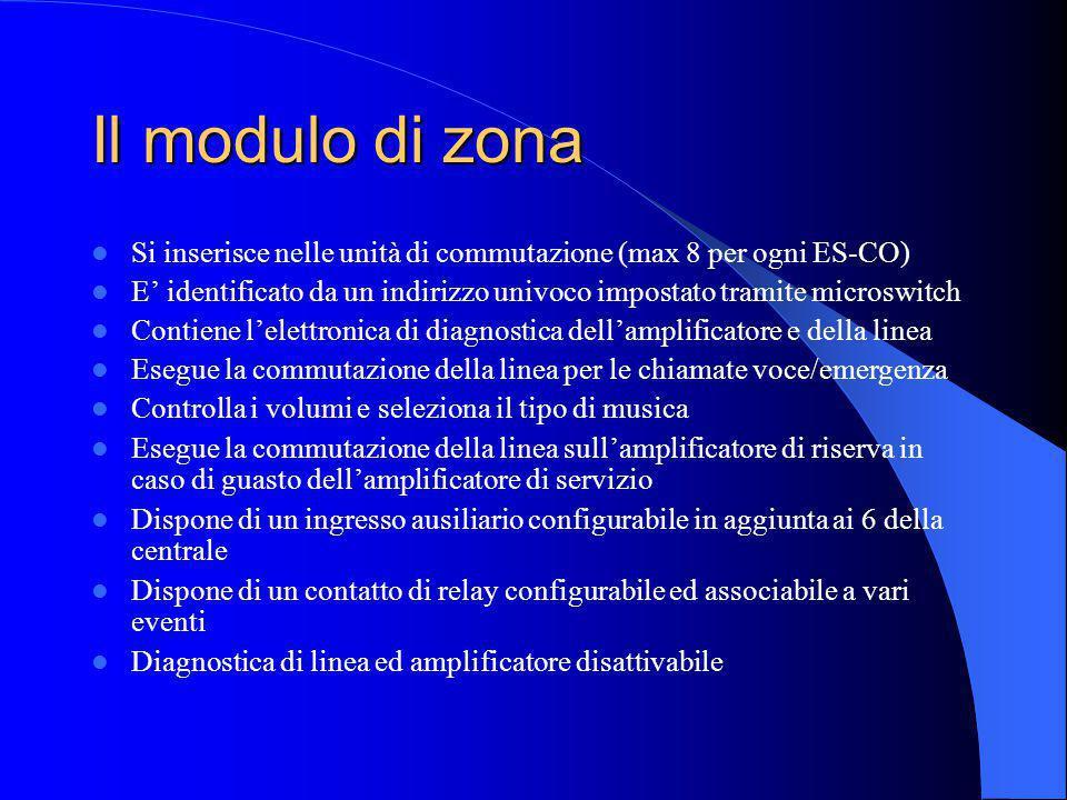 Lunità di commutazione ES-CO Consente lalloggiamento di fino ad 8 moduli di zona Contiene lalimentazione e lelettronica di interfacciamento con gli am