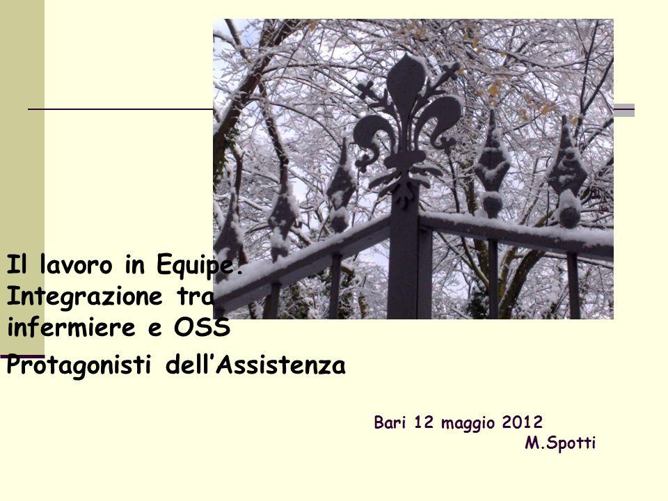 Bari 12 maggio 2012 M.Spotti Il lavoro in Equipe. Integrazione tra infermiere e OSS Protagonisti dellAssistenza