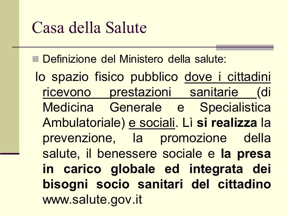 Casa della Salute Definizione del Ministero della salute: lo spazio fisico pubblico dove i cittadini ricevono prestazioni sanitarie (di Medicina Gener