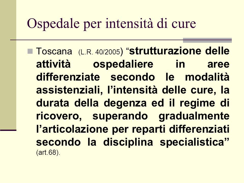 Ospedale per intensità di cure Toscana (L.R. 40/2005 ) strutturazione delle attività ospedaliere in aree differenziate secondo le modalità assistenzia