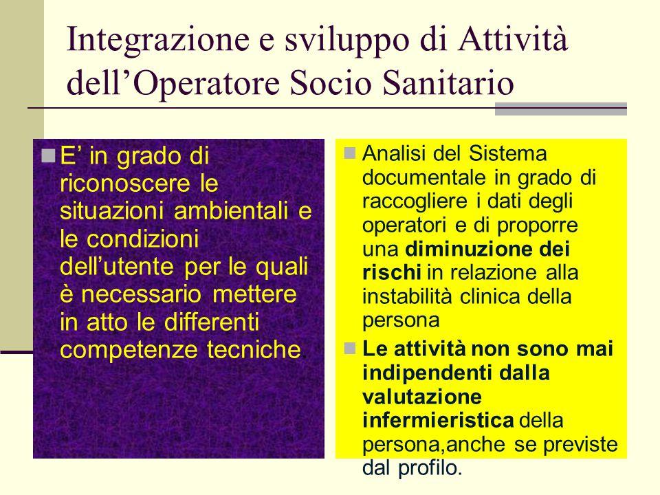Integrazione e sviluppo di Attività dellOperatore Socio Sanitario E in grado di riconoscere le situazioni ambientali e le condizioni dellutente per le
