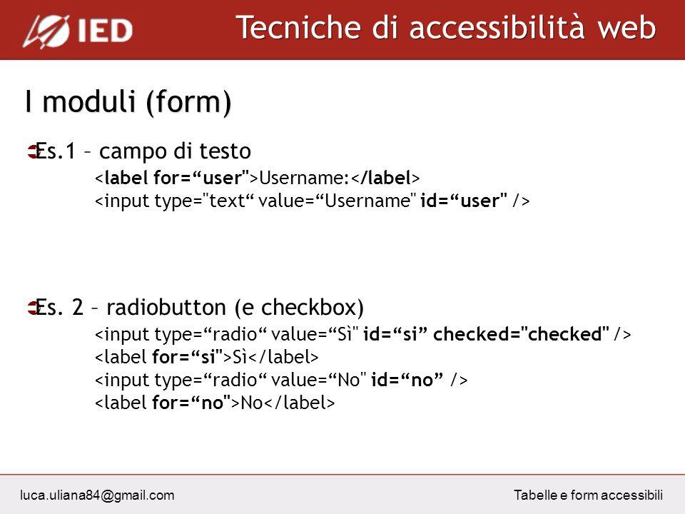 luca.uliana84@gmail.com Tecniche di accessibilità web Tabelle e form accessibili I moduli (form) Es.1 – campo di testo Username: Es. 2 – radiobutton (