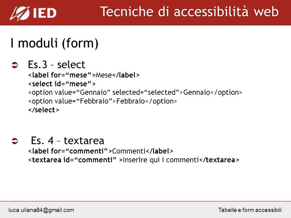 luca.uliana84@gmail.com Tecniche di accessibilità web Tabelle e form accessibili I moduli (form) Es.3 – select Mese Gennaio Febbraio Es. 4 – textarea