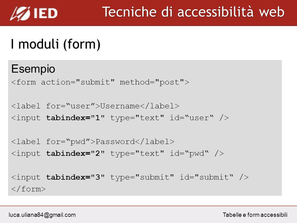 luca.uliana84@gmail.com Tecniche di accessibilità web Tabelle e form accessibili I moduli (form) Esempio Username Password