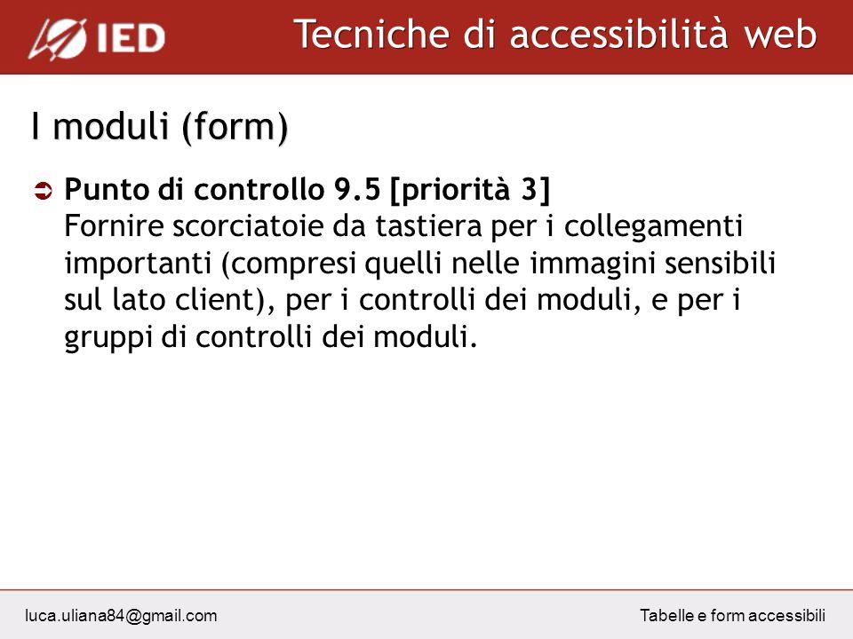 luca.uliana84@gmail.com Tecniche di accessibilità web Tabelle e form accessibili I moduli (form) Punto di controllo 9.5 [priorità 3] Fornire scorciato