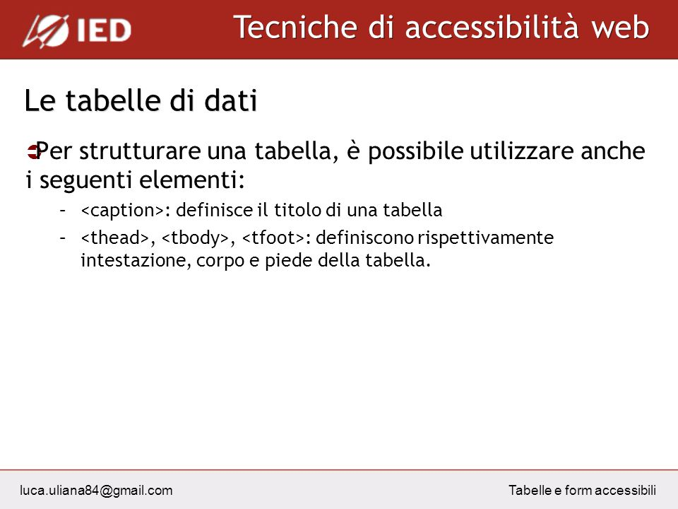 luca.uliana84@gmail.com Tecniche di accessibilità web Tabelle e form accessibili Le tabelle di dati Per strutturare una tabella, è possibile utilizzar