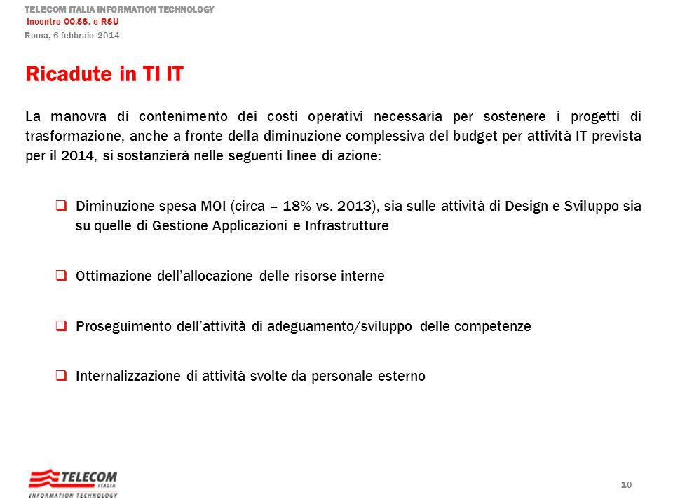 TELECOM ITALIA INFORMATION TECHNOLOGY Incontro OO.SS. e RSU Roma, 6 febbraio 2014 Ricadute in TI IT La manovra di contenimento dei costi operativi nec