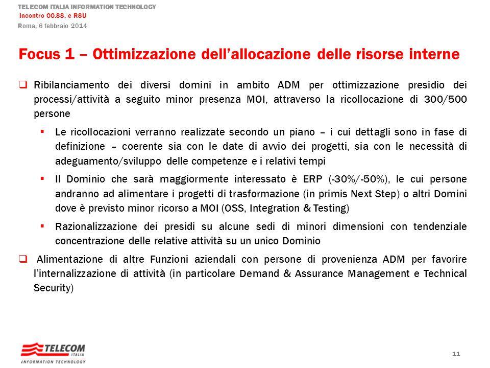 TELECOM ITALIA INFORMATION TECHNOLOGY Incontro OO.SS. e RSU Roma, 6 febbraio 2014 Focus 1 – Ottimizzazione dellallocazione delle risorse interne Ribil