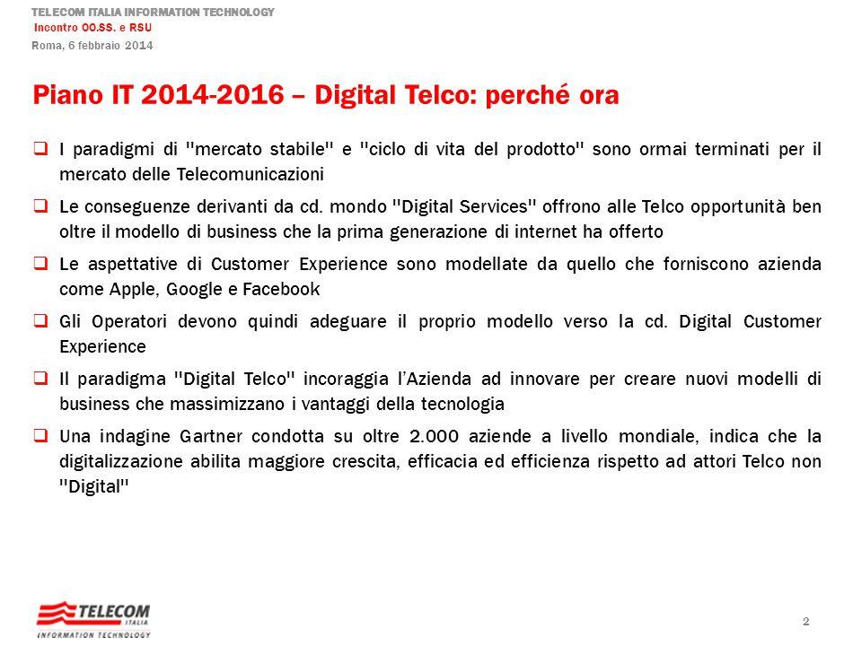 TELECOM ITALIA INFORMATION TECHNOLOGY Incontro OO.SS. e RSU Roma, 6 febbraio 2014 Piano IT 2014-2016 – Digital Telco: perché ora I paradigmi di ''merc