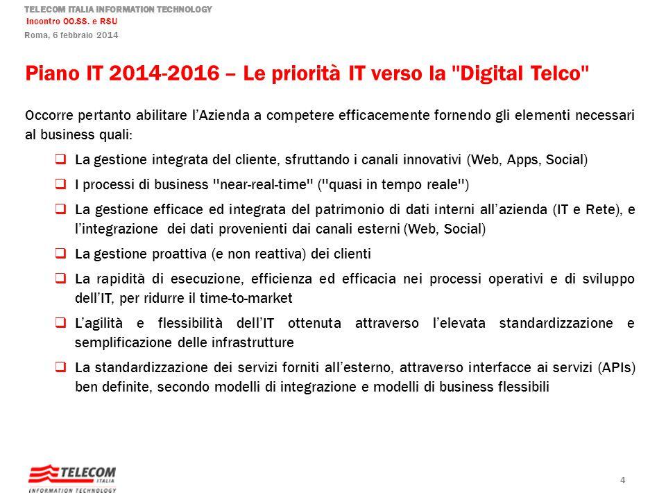 TELECOM ITALIA INFORMATION TECHNOLOGY Incontro OO.SS. e RSU Roma, 6 febbraio 2014 Piano IT 2014-2016 – Le priorità IT verso la ''Digital Telco'' Occor