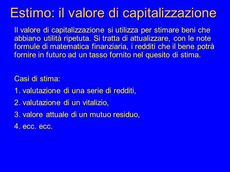 Estimo: il valore di capitalizzazione Il valore di capitalizzazione si utilizza per stimare beni che abbiano utilità ripetuta.