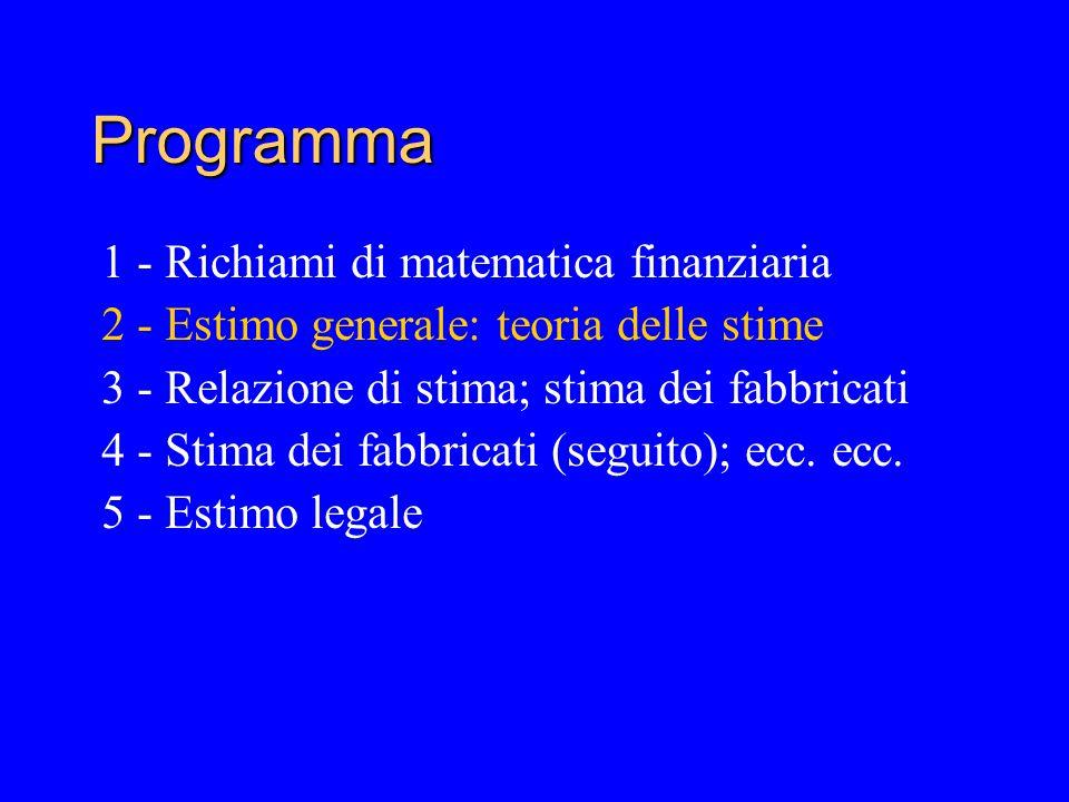 Programma 1 - Richiami di matematica finanziaria 2 - Estimo generale: teoria delle stime 3 - Relazione di stima; stima dei fabbricati 4 - Stima dei fabbricati (seguito); ecc.