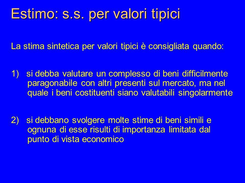 Estimo: s.s. per valori tipici La stima sintetica per valori tipici è consigliata quando: 1) si debba valutare un complesso di beni difficilmente para
