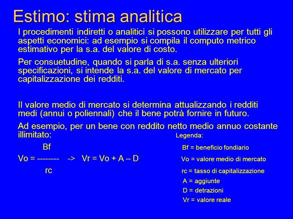 Estimo: stima analitica I procedimenti indiretti o analitici si possono utilizzare per tutti gli aspetti economici: ad esempio si compila il computo metrico estimativo per la s.a.