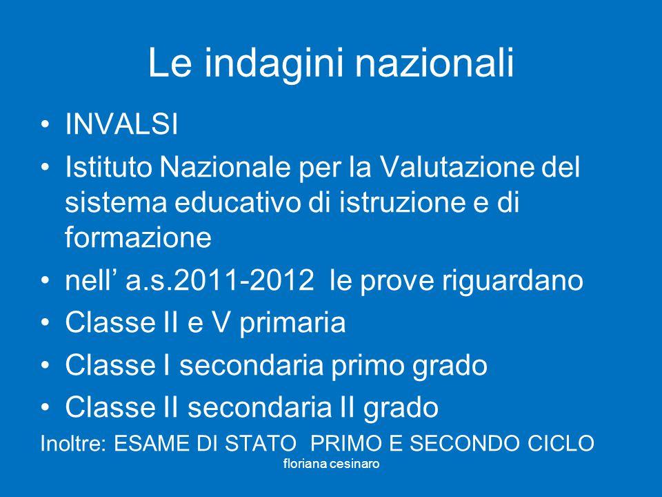 Le indagini nazionali INVALSI Istituto Nazionale per la Valutazione del sistema educativo di istruzione e di formazione nell a.s.2011-2012 le prove ri