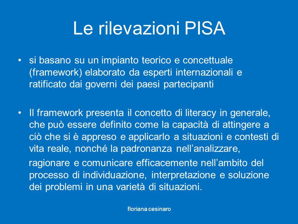 Le rilevazioni PISA si basano su un impianto teorico e concettuale (framework) elaborato da esperti internazionali e ratificato dai governi dei paesi