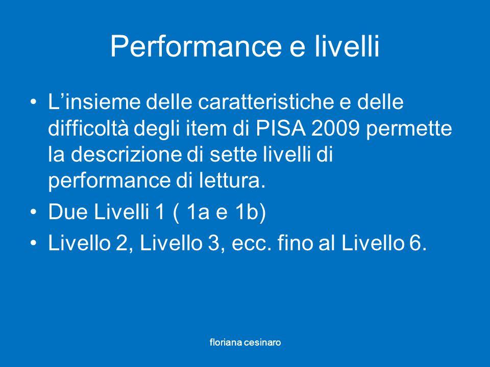 Performance e livelli Linsieme delle caratteristiche e delle difficoltà degli item di PISA 2009 permette la descrizione di sette livelli di performanc