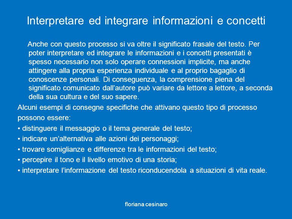 Interpretare ed integrare informazioni e concetti Anche con questo processo si va oltre il significato frasale del testo. Per poter interpretare ed in