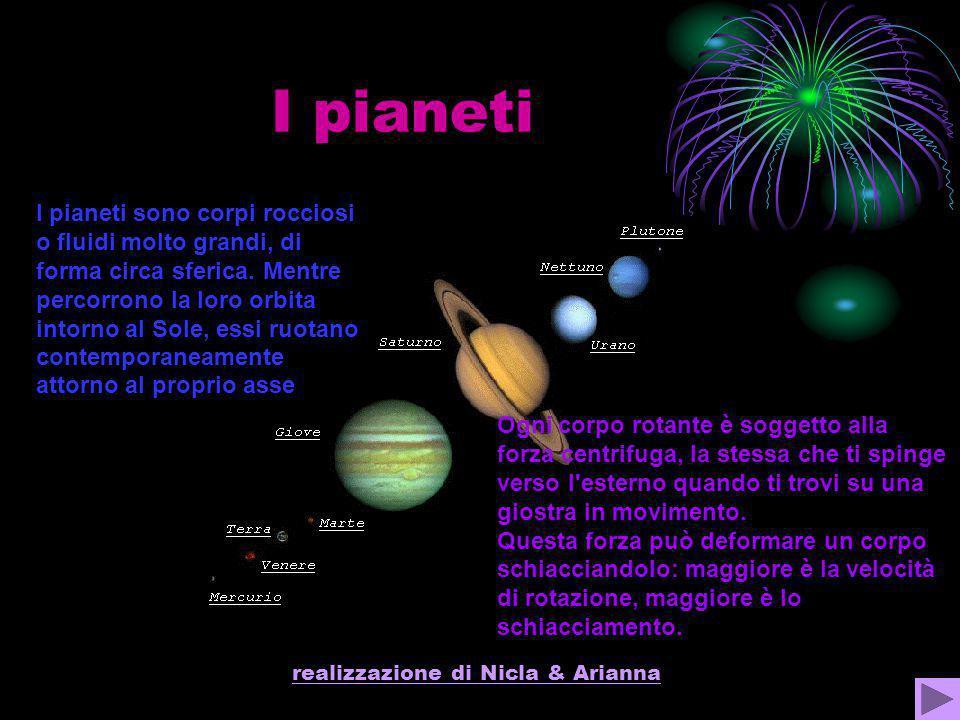 realizzazione di Nicla & Arianna I pianeti Ogni corpo rotante è soggetto alla forza centrifuga, la stessa che ti spinge verso l'esterno quando ti trov